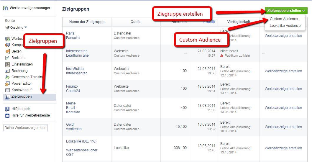 Facebook Werbung schalten - Custom Audience