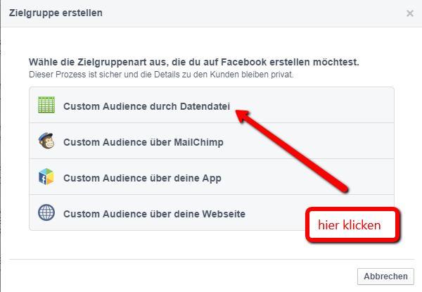 Facebook Werbung schalten - Custom Audience anlegen