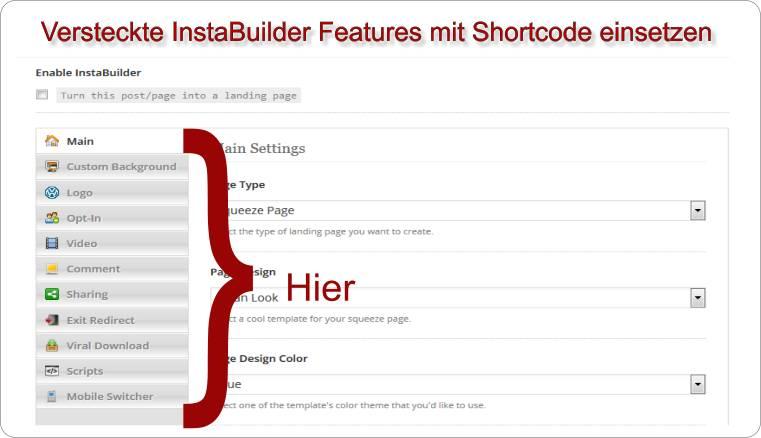 InstaBuilder versteckte Features