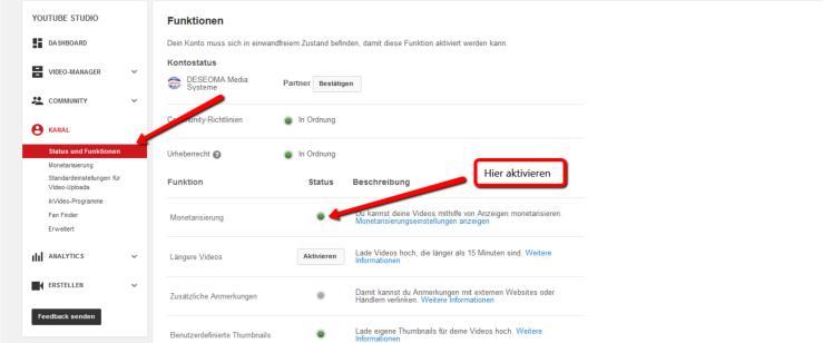 YouTube Kanal monetarisieren
